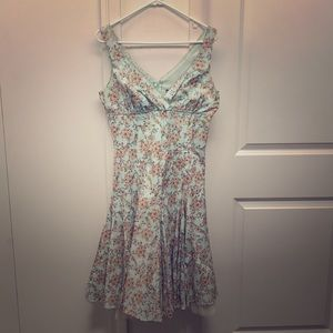 Floral Sky Blue Midi-Dress w/ Bead & Tulle Trim